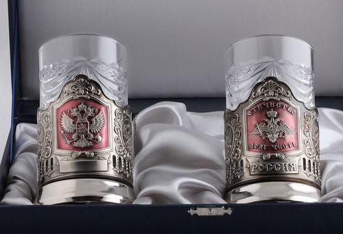 Подарочный набор c 2-мя подстаканниками в шкатулке (6 предметов). Герб РФ и Отечество, Долг, Честь (фото, вид 1)