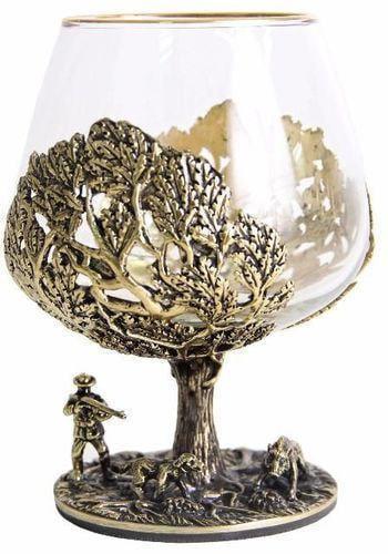 Подарочный набор c 2-мя бокалами для коньяка в шкатулке. Охота на Кабана и Охота на Медведя (фото, вид 1)