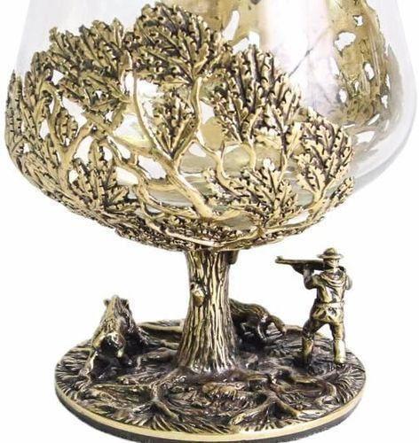 Подарочный набор c 2-мя бокалами для коньяка в шкатулке. Охота на Кабана и Охота на Медведя (фото, вид 5)