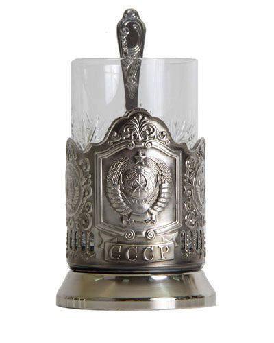 Подарочный набор c подстаканником в футляре (3 предмета). СССР (фото, вид 6)