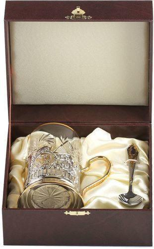 Подарочный набор c позолоченным подстаканником в футляре (3 предмета). Знаки Зодиака. Скорпион (фото, вид 3)
