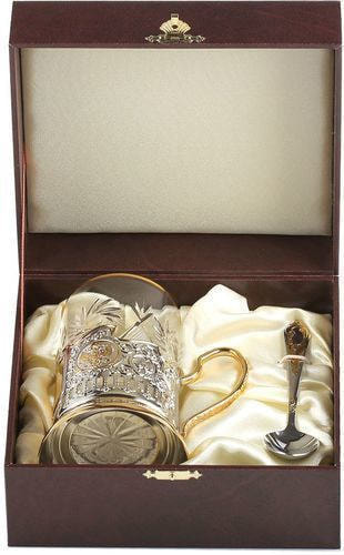 Подарочный набор c позолоченным подстаканником в футляре (3 предмета). Знаки Зодиака. Козерог (фото, вид 3)