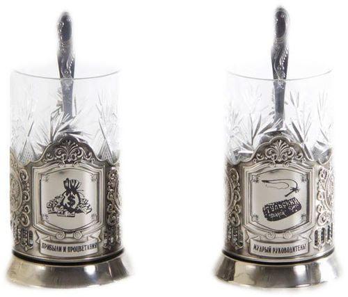 Подарочный набор c 2-мя подстаканниками в шкатулке (6 предметов). Мудрый руководитель и Прибыли и процветания (фото, вид 1)