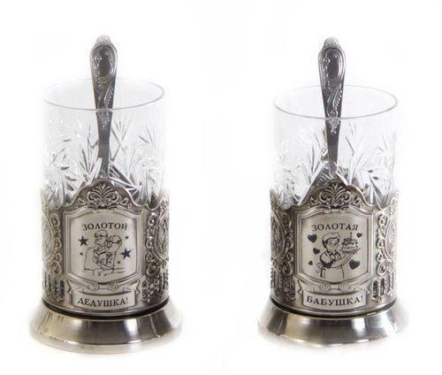 Подарочный набор c 2-мя подстаканниками в шкатулке (6 предметов). Золотой дедушка и Золотая бабушка (фото, вид 1)