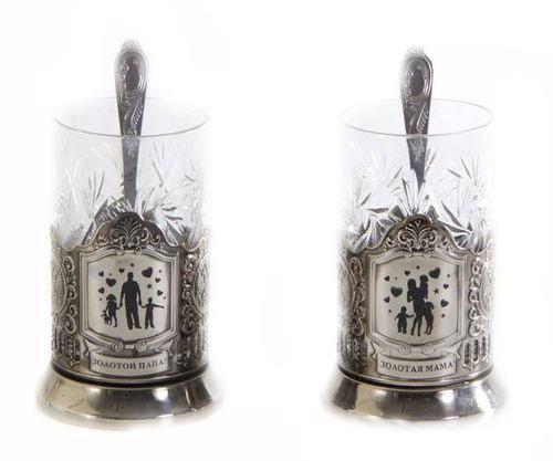 Подарочный набор c 2-мя подстаканниками в шкатулке (6 предметов). Золотой папа и Золотая мама (фото, вид 1)