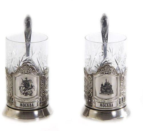 Подарочный набор c 2-мя подстаканниками в шкатулке (6 предметов). Москва и Георгий Победоносец (фото, вид 1)