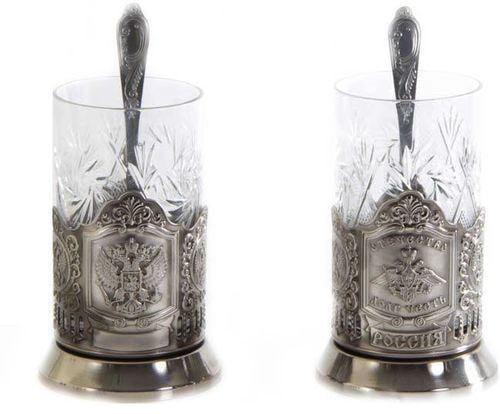 Подарочный набор c 2-мя подстаканниками в шкатулке (6 предметов). Герб и Отечество, Долг, Честь (фото, вид 1)