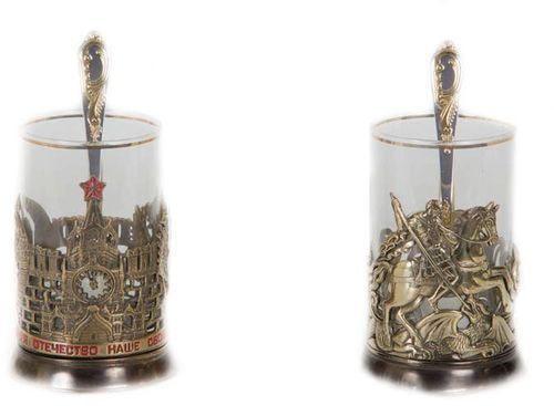 Подарочный набор c 2-мя подстаканниками в шкатулке (6 предметов). Славься Отечество и Георгий Победоносец (фото, вид 1)