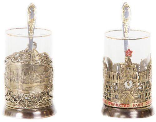 Подарочный набор c 2-мя подстаканниками в шкатулке (6 предметов). Москва и Герб России (фото, вид 1)