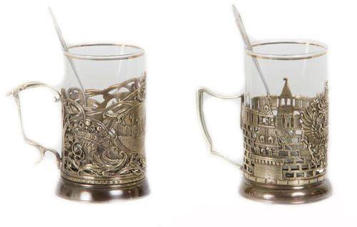 Подарочный набор c 2-мя подстаканниками в шкатулке (6 предметов). Москва и Герб России (фото, вид 2)