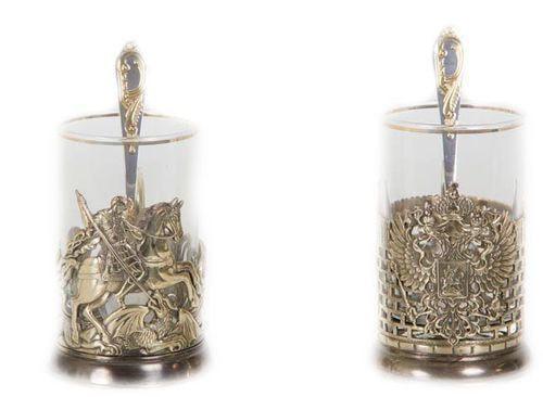 Подарочный набор c 2-мя подстаканниками в шкатулке (6 предметов). Герб России и Георгий Победоносец (фото, вид 1)