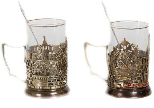 Подарочный набор c 2-мя подстаканниками в шкатулке (6 предметов). Славься Отечество и Герб России (фото, вид 1)