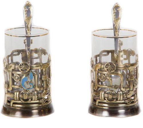 Подарочный набор c 2-мя подстаканниками в шкатулке (6 предметов). Газпром и трубопровод (фото, вид 1)