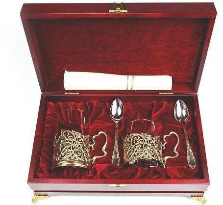 Подарочный набор c 2-мя подстаканниками в шкатулке (6 предметов). Тройка и сударыня (фото, вид 7)