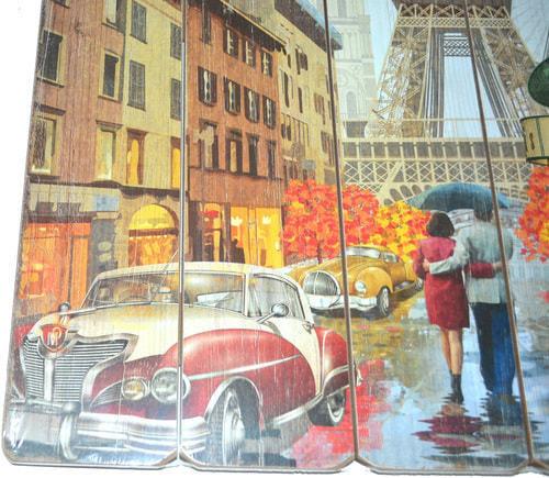 Винтажная деревянная ретро табличка-панно. Париж (40 x 40 см) (фото, вид 1)