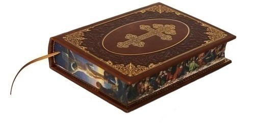 Подарочный набор с книгой в кожаном переплете. Молитвослов с иконой Ангел Хранитель (фото, вид 2)