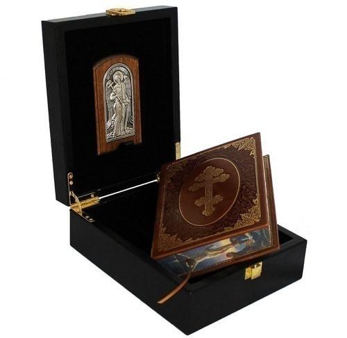 Подарочный набор с книгой в кожаном переплете. Молитвослов с иконой Ангел Хранитель (фото, вид 6)