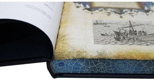Книга в кожаном переплете и подарочном коробе. История русского флота (фото, вид 4)