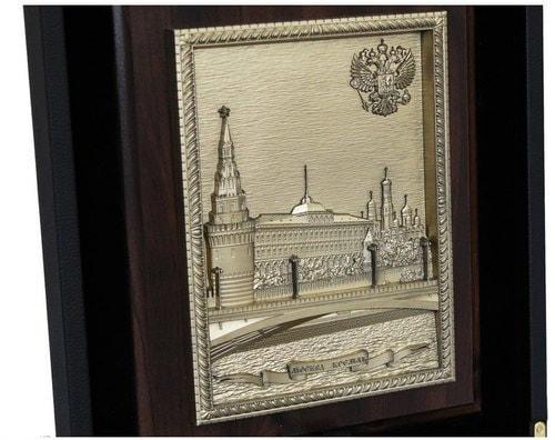 """Подарочный набор с книгой в кожаном переплете. """"Москва"""" с плакеткой """"Москва - Кремль"""" (фото, вид 3)"""