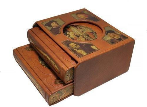 Подарочная книга в кожаном переплете. Великие художники итальянского возрождения в 2 томах (в футляре) (фото, вид 1)