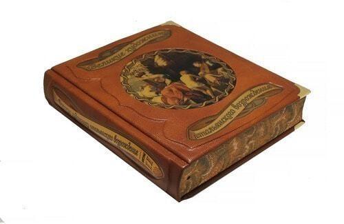 Подарочная книга в кожаном переплете. Великие художники итальянского возрождения в 2 томах (в футляре) (фото, вид 2)