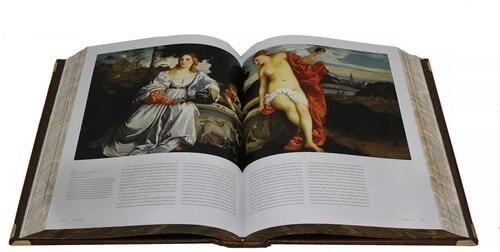 Подарочная книга в кожаном переплете. Великие художники итальянского возрождения в 2 томах (в футляре) (фото, вид 3)