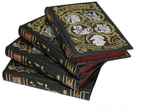 Подарочная книга в кожаном переплете. Ги Де Мопассан. Собрание сочинений в 7-ми томах (фото, вид 3)