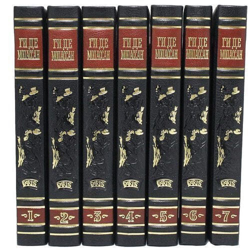 Подарочная книга в кожаном переплете. Ги Де Мопассан. Собрание сочинений в 7-ми томах (фото, вид 5)