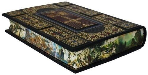 Подарочная книга в кожаном переплете. Библия с иллюстрациями русских художников (в футляре) (фото, вид 3)
