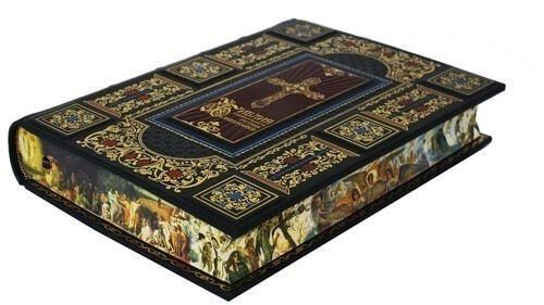 Подарочная книга в кожаном переплете. Библия с иллюстрациями русских художников (в футляре) (фото, вид 6)