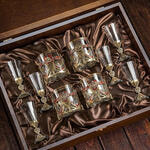 Подарочный набор для крепких напитков в деревянной шкатулке (10 предметов). Гербовый. Вид 2