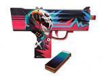 """Деревянное оружие Counter-Strike. Пистолет- пулемет резинкострел MAC-10 """"Неоновый гонщик"""". Вид 2"""