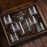 Подарочный набор для виски в деревянной шкатулке (7 предметов). Любимый муж. Вид 2