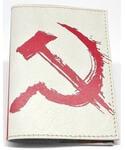Кожаная обложка на паспорт. Серп и молот. Вид 2
