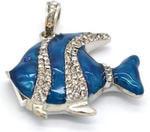 Ювелирная флешка-кулон. Рыбка в стразах (цвет синий). Вид 2