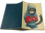 Кожаная обложка на паспорт. Кот-боксер. Вид 2