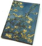 """Кожаная обложка на паспорт. Ван Гог """"Цветущие ветки миндаля"""". Вид 2"""