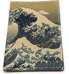 Кожаная обложка на паспорт. Большая волна в Канагаве. Вид 2