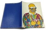 Кожаная обложка на паспорт. Гомер Симпсон с пончиками. Вид 2