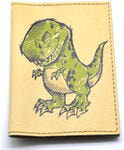 Кожаная обложка на паспорт. Динозаврик. Вид 2