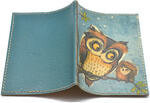Кожаная обложка на паспорт. Сова и совенок. Вид 2