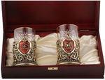 Подарочный набор c 2-мя подстаканниками в деревянной шкатулке (4 предмета). Юбилей 50 лет и Настоящий мужчина. Вид 2