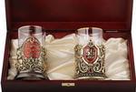 Подарочный набор c 2-мя подстаканниками в деревянной шкатулке (4 предмета). Юбилей 55 лет и Мудрый руководитель. Вид 2