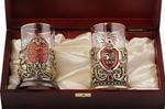 Подарочный набор c 2-мя подстаканниками в деревянной шкатулке (4 предмета). Юбилей 50 лет и Мудрый руководитель. Вид 2
