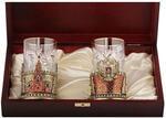 Подарочный набор c 2-мя подстаканниками в деревянной шкатулке (4 предмета). Герб России и Спасская Башня. Вид 2