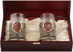 Подарочный набор c 2-мя подстаканниками в деревянной шкатулке (4 предмета). Юбилей 60 лет и Настоящий мужчина. Вид 2