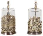 Подарочный набор c 2-мя подстаканниками в шкатулке (6 предметов). Москва и Георгий Победоносец. Вид 2