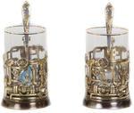 Подарочный набор c 2-мя подстаканниками в шкатулке (6 предметов). Газпром и трубопровод. Вид 2