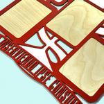 """Подарочная деревянная фоторамка """"Медицинская служба"""" под пять фотографий. Вид 2"""