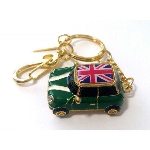 Подарочная металлическая флешка-брелок. Автомобиль Мини Купер зеленый с флагом (фото)